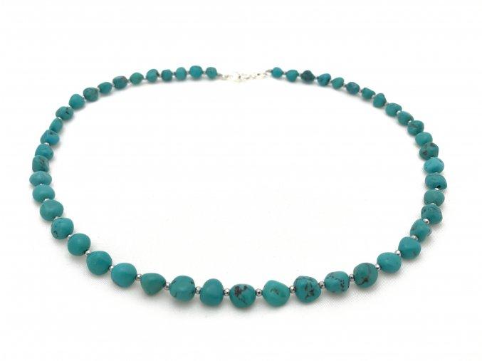Tyrkysový náhrdelník s mezerníky