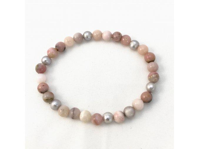 Náramek menší kuličky andský opál a perla