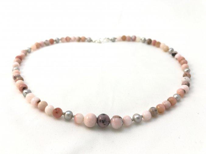 Náhrdelník menší andský opál a perla
