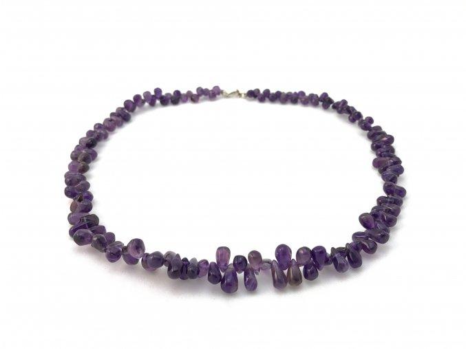 Ametystový náhrdelník tvar kapky