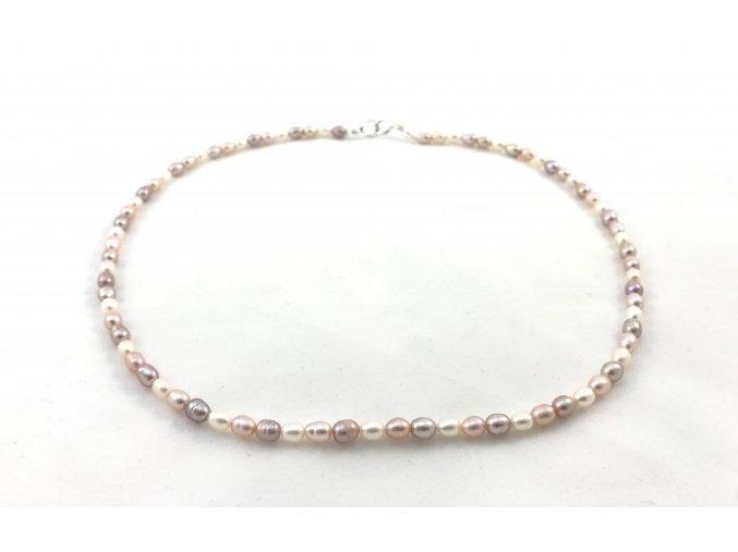 Perlový náhrdelník ovalné perly tricolor