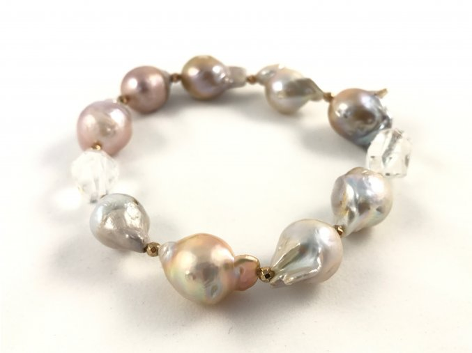 Náramek růžová reborn perla a křišťál
