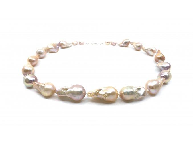 Perlový náhrdelník reborn perly zlaté barvy