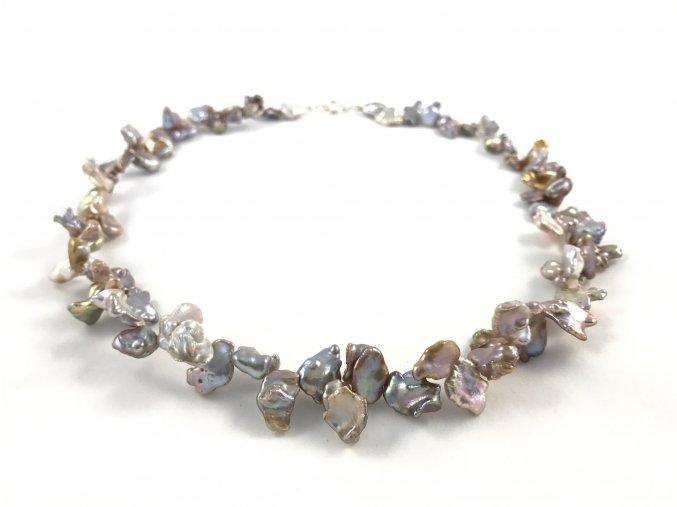 Náhrdelník keshi perly šedé a levandulové