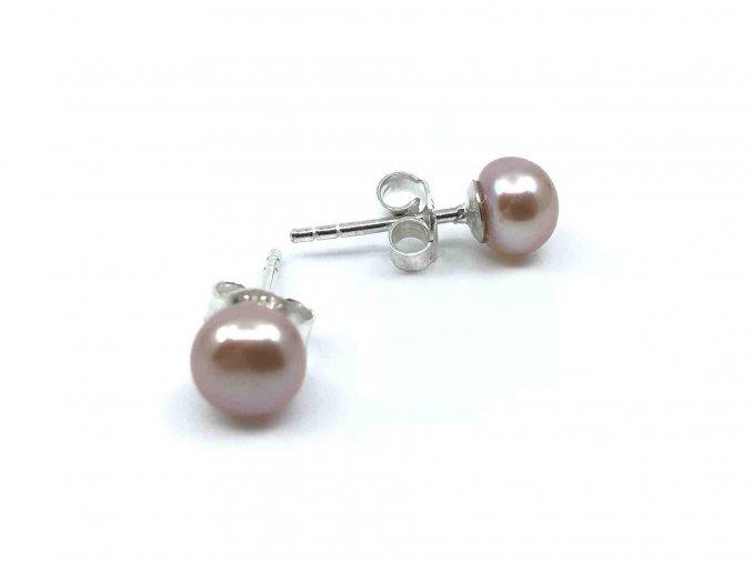 Perlové náušnice z malých levandulových perel