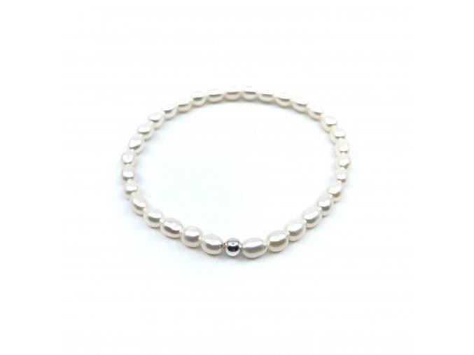 Perlový náramek bílé perly tvar rýže
