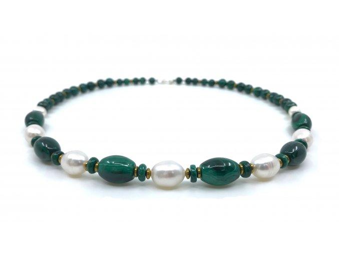 Malachitový náhrdelník s bílou perlou 1ks