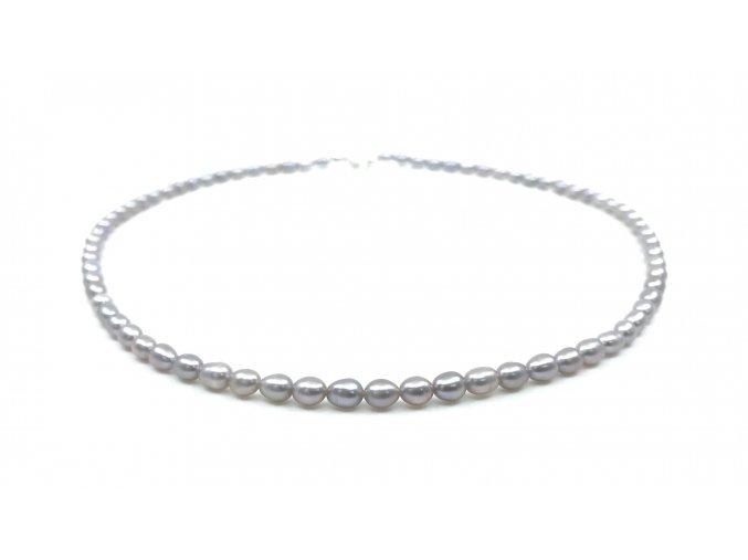 Perlový náhrdelník šedé perly ve tvaru rýže
