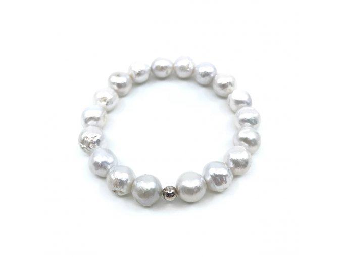 Perlový náramek bílé perly satén