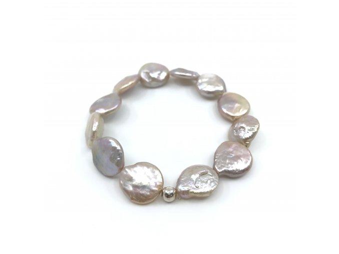 Perlový náramek růžové placaté perly