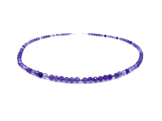 Ametystový náhrdelník broušené kuličky