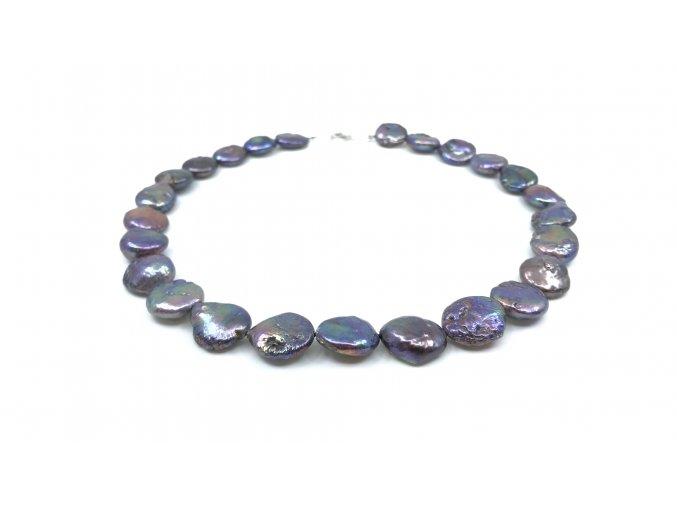 Náhrdelník fialovomodré placaté perly