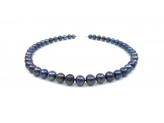 Náhrdelník modrofialové kulaté perly
