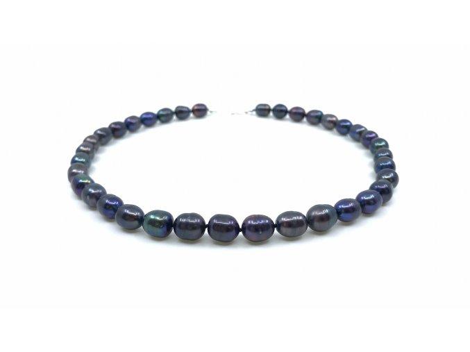 Perlový náhrdelník oválné modrofialové perly