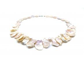 Náhrdelník keshi perly lososové barvy