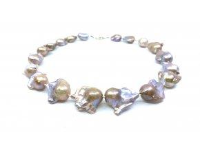 Perlový náhrdelník reborn levandulové a zlaté barvy
