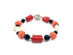 Náramek barvený korál, onyx a perla
