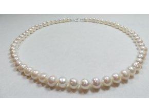 Náhrdelník z menších bílých perel (buton) 48 cm