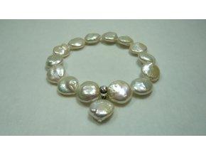 Náramek z bílých placatých perel