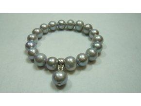 Náramek z velkých šedých perel