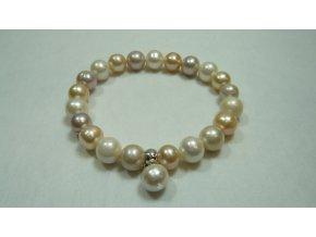 Náramek z větších lososových, bílých a lavendulových perel