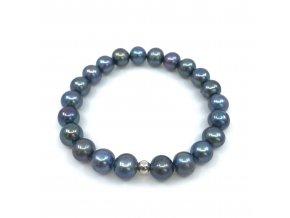 Náramek z lesklých modrých perel