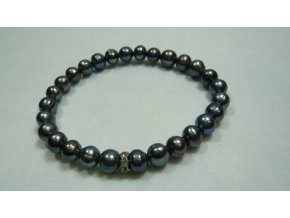 Náramek z tmavých šedozelených perel
