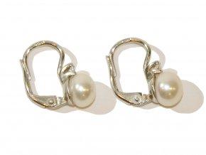 Náušnice z bílých perel s kamínkem