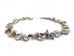 Náhrdelník z barevných keshi perel