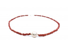 Náhrdelník červený korál a perla