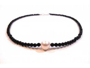 Náhrdelník broušený onyx a perla