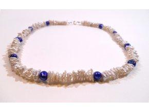 Perlový náhrdelník bílý a modrý