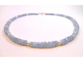 Náhrdelník broušený akvamarín a perly
