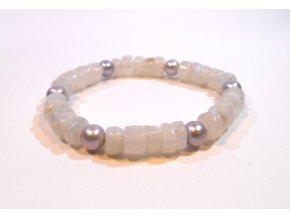 Náramek měsíční kámen a šedá perla