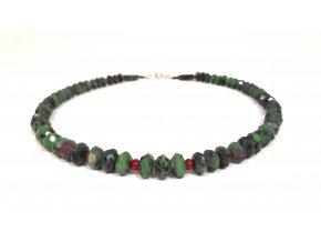Rubín v zioisitu náhrdelník