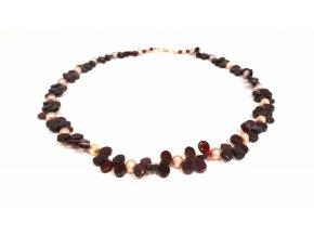 Almandin náhrdelník a říční perly