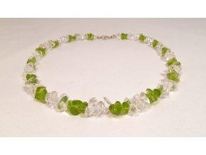 Olivínový náhrdelník a kříšťál