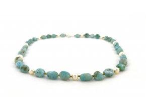 Larimarový náhrdelník s perlou