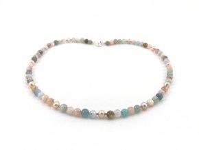 Náhrdelník akvamarín morganit a perla