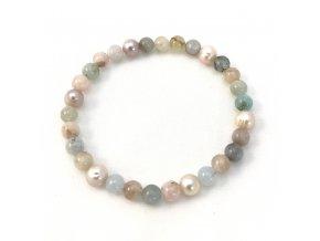 Náramek akvamarín morganit a perla