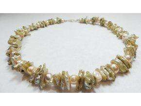 Náhrdelník z perel keshi biwa