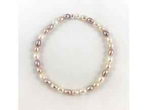 Náramek drobné ovalné perly tricolor