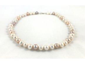 Náhrdelník bílé a barevné perly velké