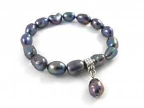 Náramek modrá perla nepravidelného tvaru