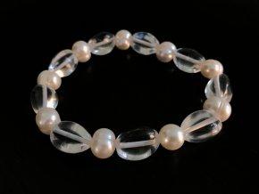 Náramek křišťál a bílá perla