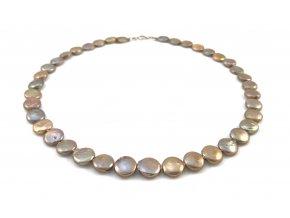 Náhrdelník zlatohnědé placaté perly