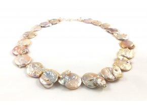 Perlový náhrdelník velké růžové placky