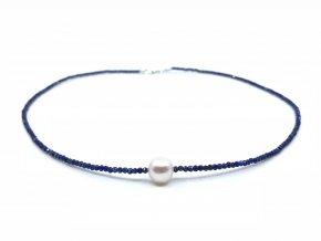 Náhrdelník lapis lazuli a bílá perla