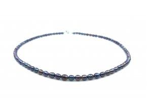Perlový náhrdelník tmavomodré perly ve tvaru rýže