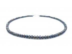 Perlový náhrdelník tmavomodré perly kuličky